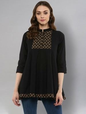 Black plain cotton cotton-tops