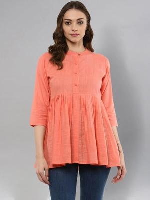 Peach plain cotton  cotton-tops