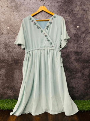 Light green embroidered georgette long-tops