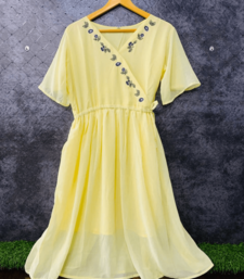 Yellow embroidered georgette long-tops