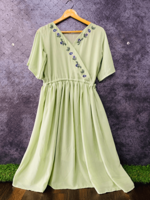 Green embroidered georgette long-tops
