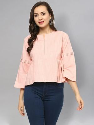 Pink plain cotton cotton-tops