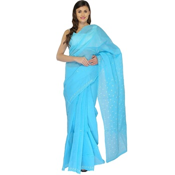 Lavangi Sky Blue Lucknow Chikankari Hand Embroidered Keel Work Cotton Saree with Blouse