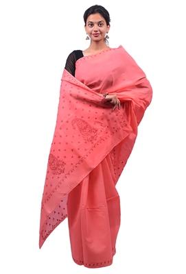 Lavangi Gajiri Lucknow Chikankari Maroon Thread Hand Embroidered Keel Work Cotton Saree with Blouse