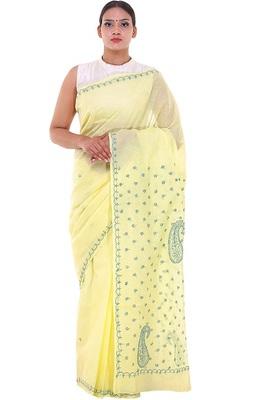 Lavangi Lemon Yellow Lucknow Chikankari Green Thread Hand Embroidered Keel Work Cotton Saree with Blouse