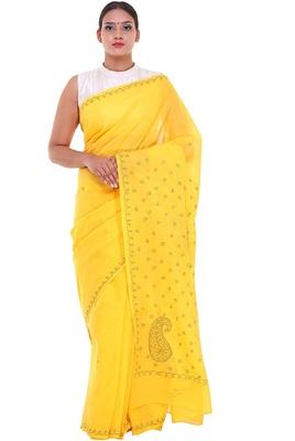 Lavangi Yellow Lucknow Chikankari Green Thread Hand Embroidered Keel Work Cotton Saree with Blouse