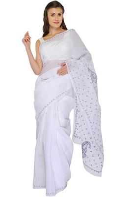 Lavangi White Lucknow Chikankari Vilot Thread Hand Embroidered Keel Work Cotton Saree with Blouse