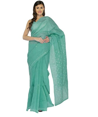 Lavangi Teal Green Lucknow Chikankari Hand Embroidered Keel Work Cotton Saree with Blouse