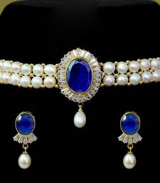 Blue pearl chokers