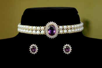 Purple pearl chokers