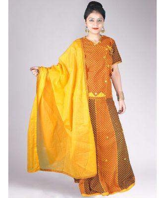 Yellow & Red Choli Style Cotton Jaipuri Lehenga Set With Mirror Work