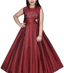 red plain satin kids girl gowns