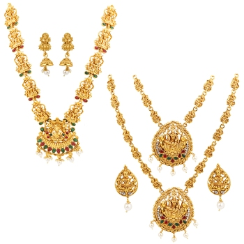 Gold Plated Traditional Designer Temple Long Jewellery Set For Women Girl