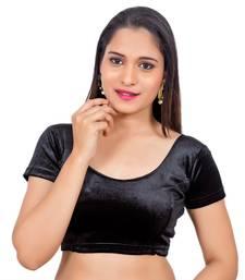 Velvet Black Short Sleeves Princess Cut Stretchable Readymade Saree Blouse