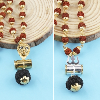 Gold Plated Traditional Combo Rudraksh Mala Pendant for Men and Women-set 2