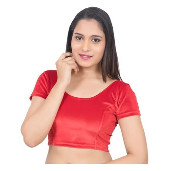 Velvet Red Short Sleeves Princess Cut Stretchable Readymade Saree Blouse