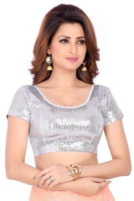 Dupion Silk Silver Sequined Design Princess Cut Short Sleeves Readymade Saree Blouse