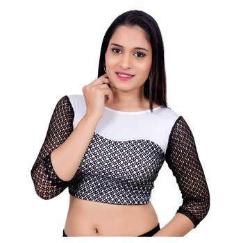 Copper Shimmer Black Lycra Stretchable Readymade Saree Blouse