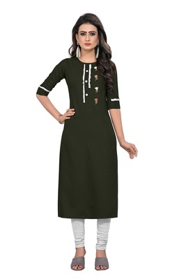 Dark-green embroidered rayon long-kurtis