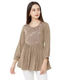 women's beige color viscose blend flared tunic