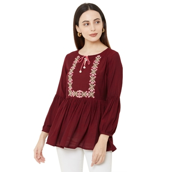 women's maroon color viscose blend flared tunic