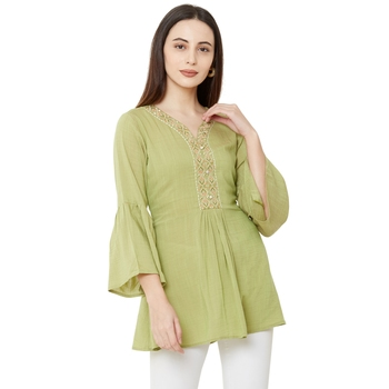 women's pista color viscose blend flared tunic
