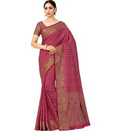 pink hand woven art silk saree with blouse