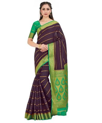 brown hand woven crepe saree with blouse