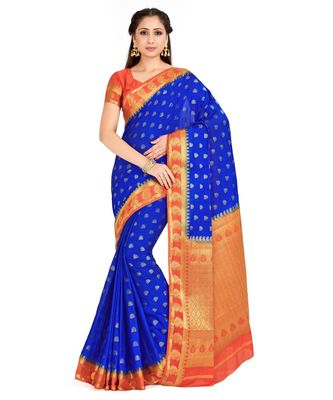 blue hand woven crepe saree with blouse