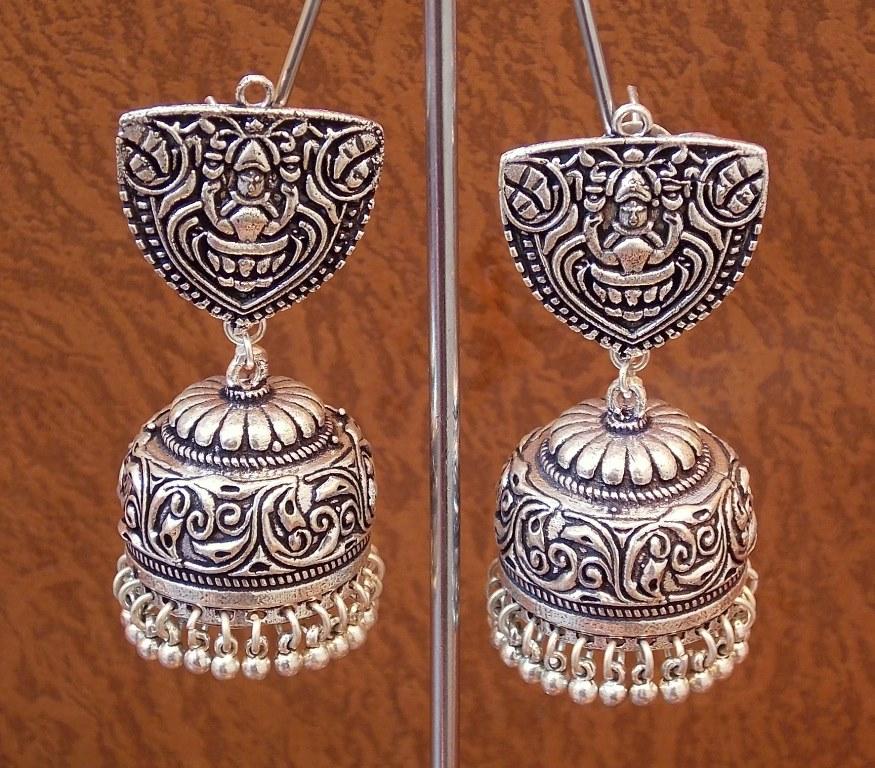 11d4adeb8b971 Tribal german silver jhumka earring