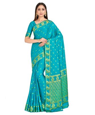 turquoise hand woven crepe saree with blouse