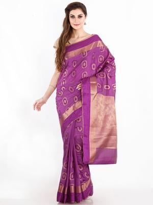 Purple Woven Design Jute Silk Saree With Blouse Piece