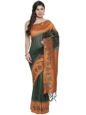 CLASSICATE from the house of The Chennai Silks  Green Embroidered Dupion Saree With Blouse Piece