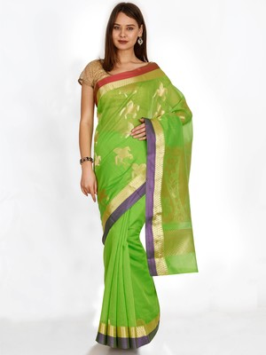 CLASSICATE from the house of The Chennai Silks  Green Silk Cotton Woven Design Narayan Peth Saree With Blouse Piece