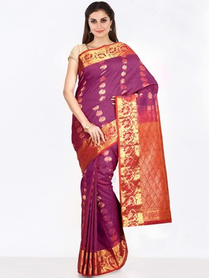 CLASSICATE from the house of The Chennai Silks  Women's Purple Dharmavaram Silk Saree With Blouse