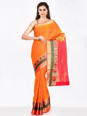 CLASSICATE from the house of The Chennai Silks  Women's Orange Dharmavaram Silk Saree With Blouse