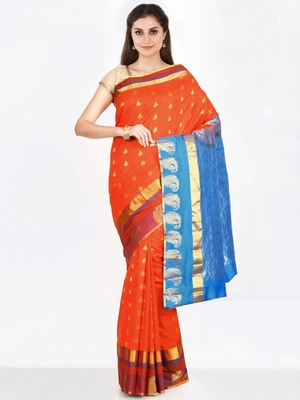 CLASSICATE from the house of The Chennai Silks  Women's Orange Dharmavaram Silk Saree With Blouse