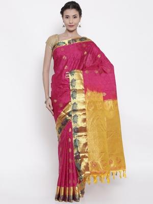CLASSICATE from the house of The Chennai Silks  Women's Magenta Kanjivaram Silk Saree With Blouse
