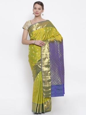 CLASSICATE from the house of The Chennai Silks  Women's Green Kanjivaram Silk Saree With Blouse