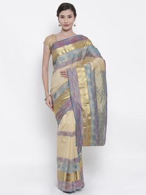 CLASSICATE from the house of The Chennai Silks  Women's Beige Kanjivaram Silk Saree With Blouse