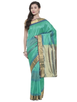 CLASSICATE from the house of The Chennai Silks  Women's Turquoise Kanjivaram Silk Saree With Blouse