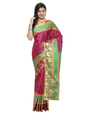 CLASSICATE from the house of The Chennai Silks  Women's Magenta Kanjivaram Silk Saree With Blouse