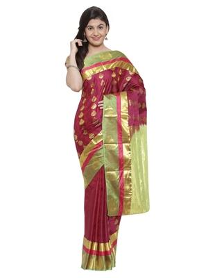 CLASSICATE from the house of The Chennai Silks  Women's Purple Kanjivaram Silk Saree With Blouse