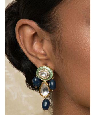 Blingtastic Blue Enamelled Kundan Earrings