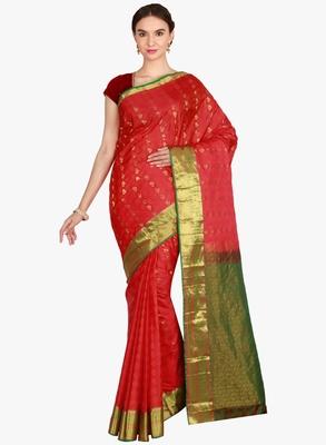 CLASSICATE from the house of The Chennai Silks  Women's Red Kanjivaram Silk Saree With Blouse