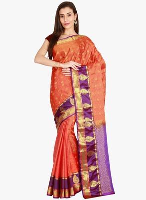 CLASSICATE from the house of The Chennai Silks  Women's Orange Kanjivaram Silk Saree With Blouse