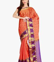 CLASSICATE from the house of The Chennai Silks  Women's Orange Kanjivaram Silk Saree With Blouse