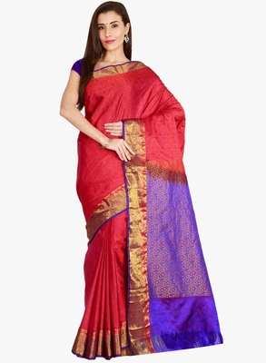 CLASSICATE from the house of The Chennai Silks  Women's Red Kanjivaram Silk Saree With Blouse