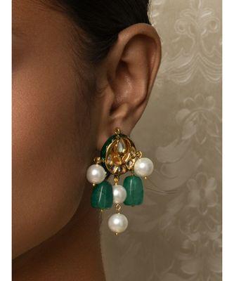 Jazzy Enamelled Green Kundan, Jade And  Pearl Earrings