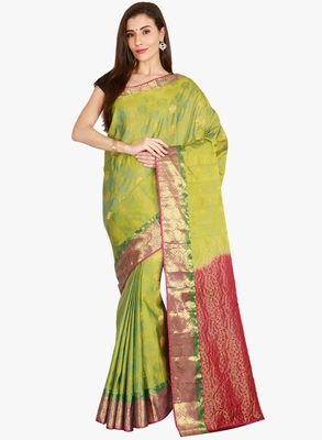 CLASSICATE from the house of The Chennai Silks  Women's Green Kanjivaram Silk Saree With Blouse